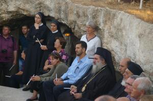 Praying for peace in the Shepherd's Field, Bethlehem